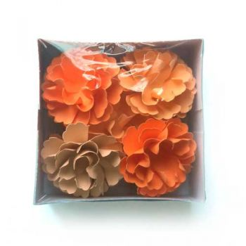 "Paper flowers with button 9 pcs. - ""Yellow cloves"""