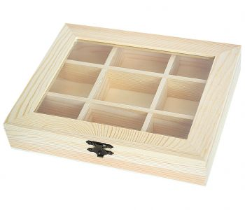 Wooden box with 4 compartments