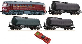 Freight train set with diesel locomotive BR 218 - DB AG and three wagons, N