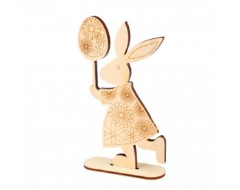 Wooden figure Buratini - Easter bunny and egg