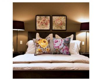 Colection D`Art cross stitch cushion 5069 Sweet Pinks Left