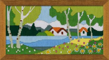 Cross-stitch kit Riolis 1572 - Pink garden, long stitch