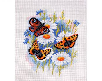 Printed embroidery Aida Collection D'Art PA0624 - Butterflies on daisies
