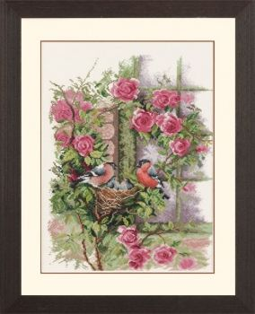 Cross-stitch kit Lanarte PN0008020 Robin on the Rose
