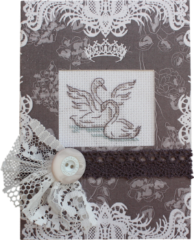 Cross-stitch kit card Orchidea 6220 Little chicken in the bascket