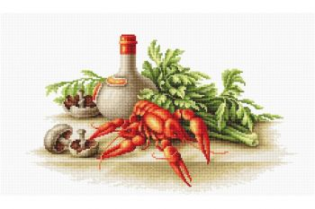 Cross-stitch kit Luca-S B2258 Still life with crayfish
