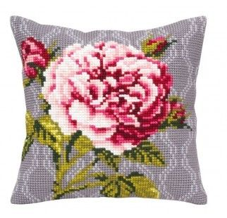 Colection D`Art cross stitch cushion 5342 Pink Rose