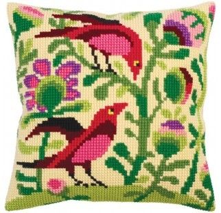 Colection D`Art cross stitch cushion 5296 Birds of paradise