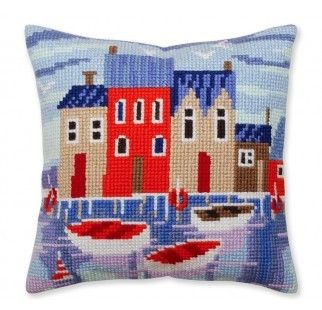Colection D`Art cross stitch cushion 5388 Coastal town