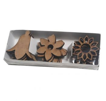 MDF decorative figures 15 pcs. Flowers