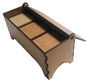 Wooden box rectangular with 4 boxes inside