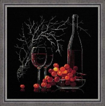 Cross-stitch kit Riolis 1239 Red wine naturemort