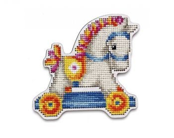 "Cross-stitch kit RTO EHW053  Cross-stitch kit with perforated wooden form ""horse"""