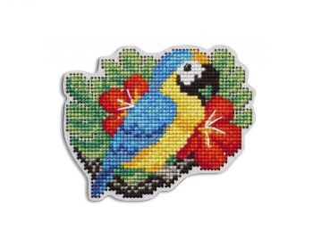 "Cross-stitch kit RTO EHW051  Cross-stitch kit with perforated wooden form ""Bird"""