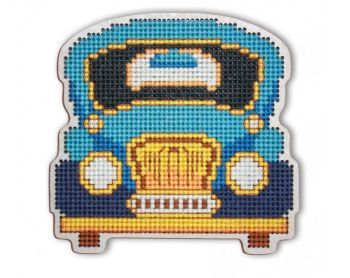 "Cross-stitch kit RTO EHW046  Cross-stitch kit with perforated wooden form ""Car"""
