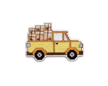 "Cross-stitch kit RTO EHW045  Cross-stitch kit with perforated wooden form ""Car"" 2"