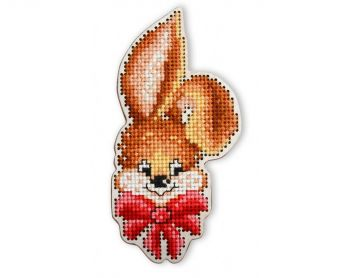 "Cross-stitch kit RTO EHW042  Cross-stitch kit with perforated wooden form ""rabbit"""