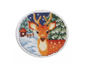 "Cross-stitch kit RTO EHW040  Cross-stitch kit with perforated wooden form  ""cake"""