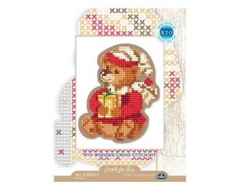 "Cross-stitch kit RTO EHW038  Cross-stitch kit with perforated wooden form  ""Kitten"""