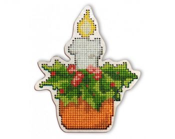 "Cross-stitch kit RTO EHW025  Cross-stitch kit with perforated wooden form  ""Penguin"""
