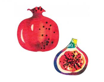 "Cross-stitch kit RTO EHW016  Cross-stitch kit with perforated wooden form  ""Pomegranate and lime"""