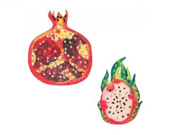 "Cross-stitch kit RTO EHW012  Cross-stitch kit with perforated wooden form   ""Rich Fruits"""