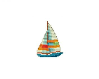 Mosaic with crystals and magnet Collection D'Art DCM067   Sailboat