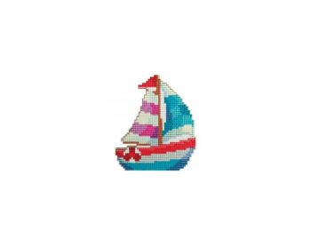Mosaic with crystals and magnet Collection D'Art DCM068   Sailboat