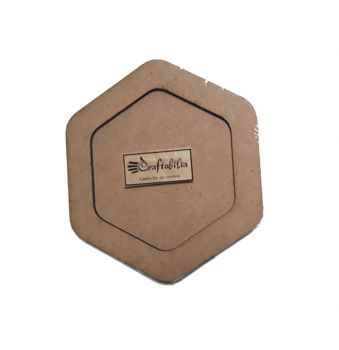 Wooden decoration frame Hexagon oval 8 cm.
