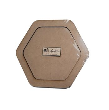 Wooden decoration frame Hexagon oval 11 cm.