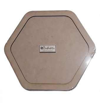 Wooden decoration frame Hexagon oval 17 cm.