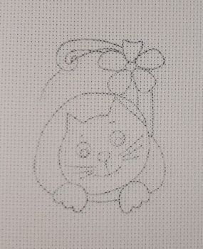 Cross-stitch kit stamped Kitten with a heart