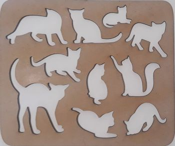 Wooden stencil Cats