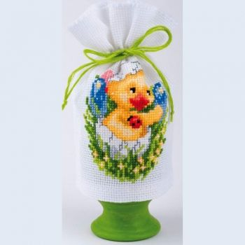 Egg cover cross-stitch  bag - duck