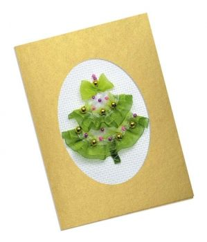 Cross-stitch Riolis kit Elegant Christmas Tree Card