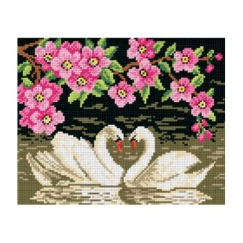 Printed embroidery Orchidea 1703 Swans