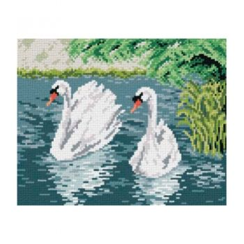 Printed embroidery Orchidea 1974 Swans in the lake