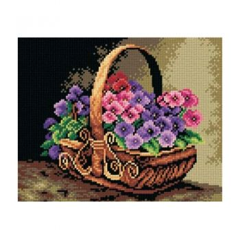 Printed embroidery Orchidea 2311 Flower basket