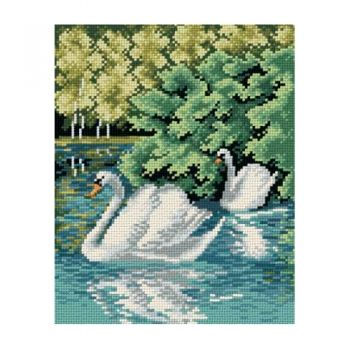 Printed embroidery Orchidea 2332 Swan lake