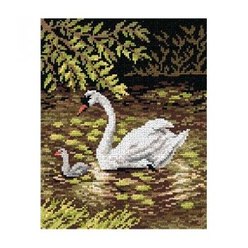 Printed embroidery Orchidea 2086 Swan mother