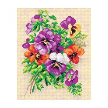 Printed embroidery Orchidea 2458 Bouquet viola