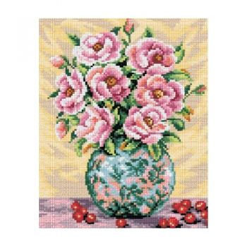 Printed embroidery Orchidea 2399 Pink roses