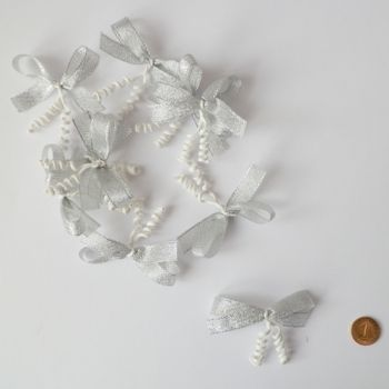 Silver brocade ribbons