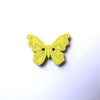Button yellow butterfly
