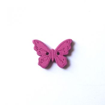 Button fucsia butterfly