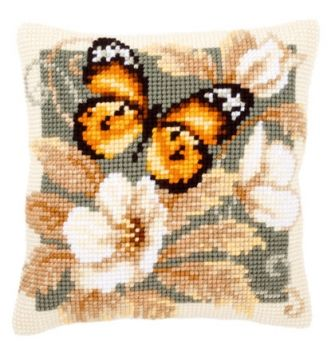 Vervaco cross stitch cushion PN-0146840 Black and Orange Butterfly