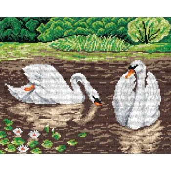 Printed embroidery pattern Orchidea - Swan lake
