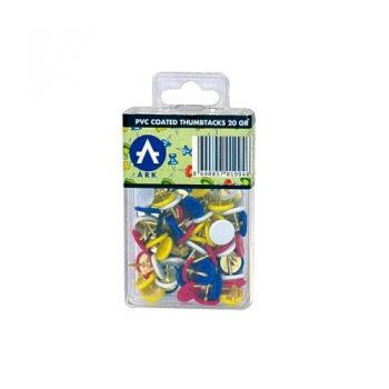Metal thumbtacks with plastic colored tops